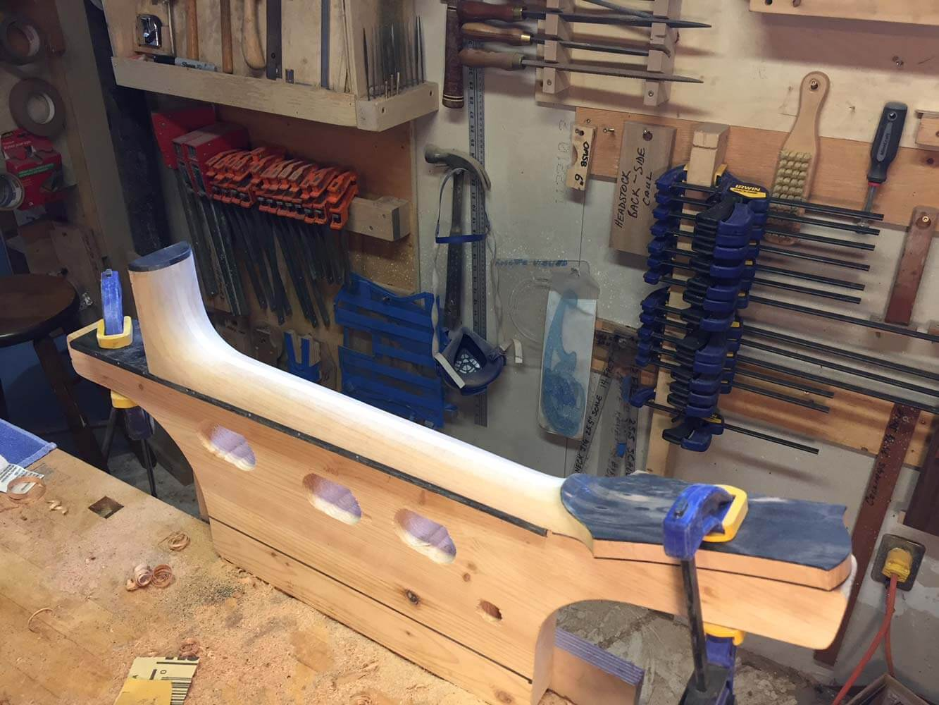 Each neck is shaped with hand tools. I have developed a ''modified Vee'' shape that is very inviting, and plays ''fast''.